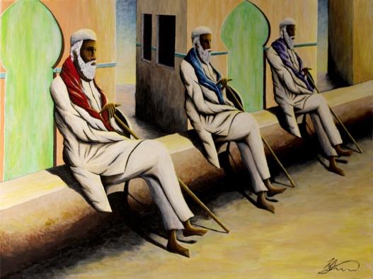 'Three Old Men' Acrylic on Canvas, 2014